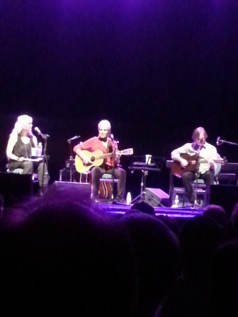L to R: Emmylou Harris, Joan Baez, Jackson Browne at San Jose Civic Auditorium July 27, 2013 benefit