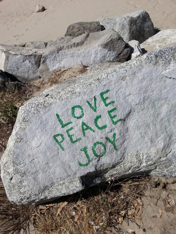 Love Peace Joy Rock angle