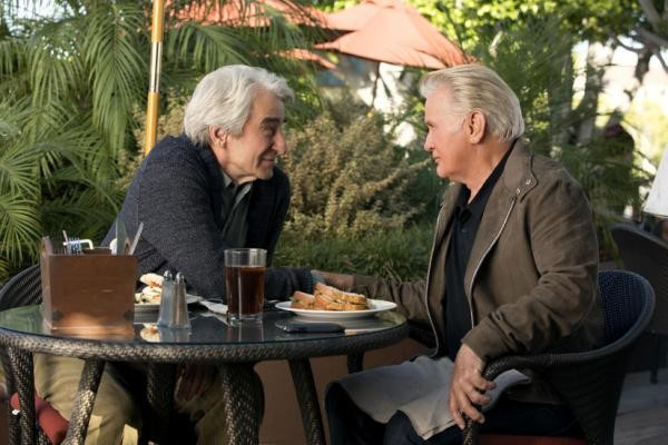 """This photo provided by Netflix shows, Sam Waterston, left, and Martin Sheen, in the Netflix Original Series """"Grace and Frankie,"""" premiering on Friday, May 8.  (Melissa Moseley/Netflix via AP)"""