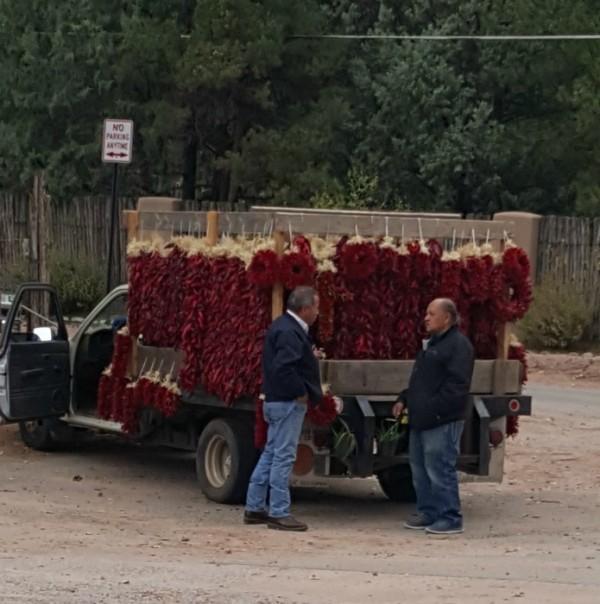 The familiar sight of ristra vendors.